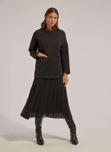 Monamoda Cepli Scuba Kumaş Sweatshirt Siyah